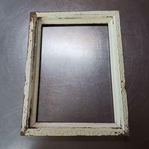 Vintage Off White Chippy, Carved, Wooden Frame